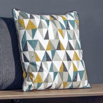 Scandi Triangle Cushion Teal & Ochre |Thebedshack